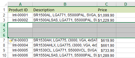 See your table in Excel with the rows inserted below the necessary line