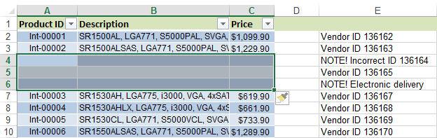 Select a range within your data table