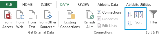 Go to the Data tab in Excel and press the Sort button