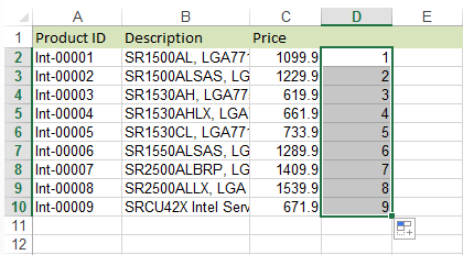 Drag the fill handle to the last data cell