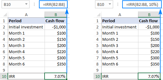 Using guess in an IRR formula