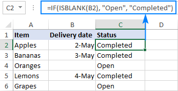 Excel formula: if cell is blank then
