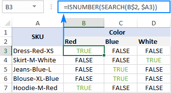Using ISNUMBER SEARCH formula in Excel
