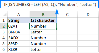 IF ISNUMBER formula to check if the first character is number or letter