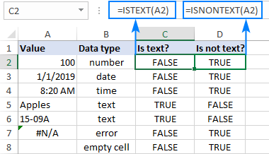 ISNONTEXT function in Excel