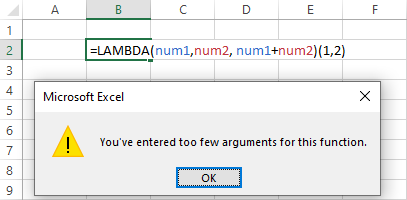 Do not use parameter names resembling cell references.