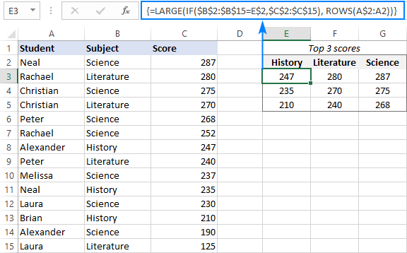 LARGE IF formula to find the largest 3 values with condition