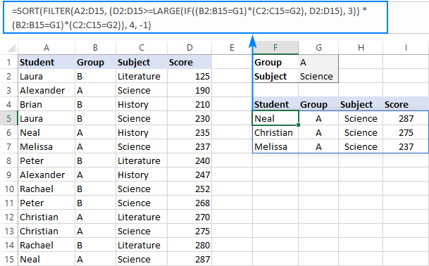 FILTER LARGE formula with two criteria