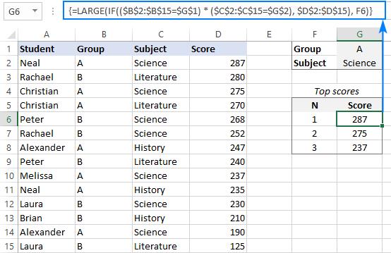 LARGE IF formula with multiple criteria