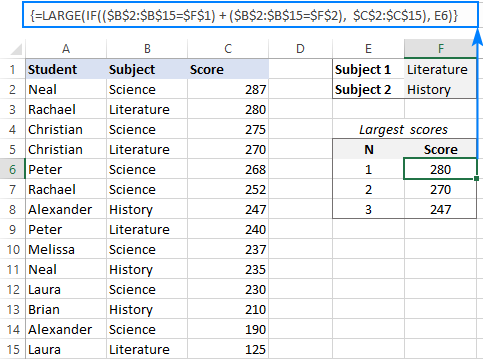 LARGE IF formula to return highest 3 values with OR criteria