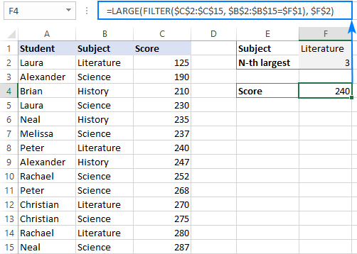 LARGE FILTER formula to get the n-th highest value with condition