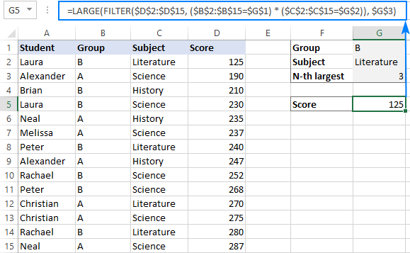 LARGE FILTER formula with multiple criteria using AND logic