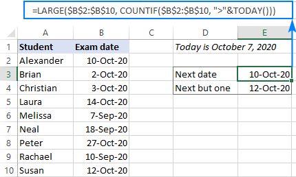 A formula to get a future date closest to today