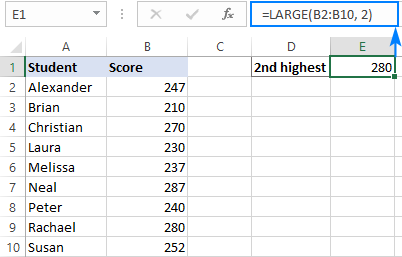 Using LARGE function in Excel
