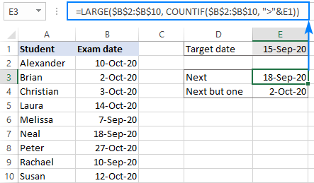 A formula to find a date after a specific date
