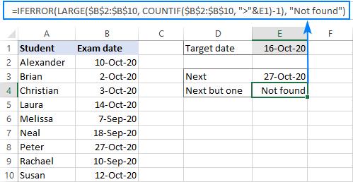 A formula to get a future closest date and catch errors