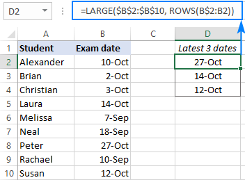 LARGE formula to find the latest 3 dates