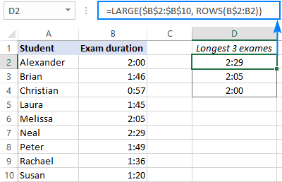 LARGE formula to get the biggest 3 times