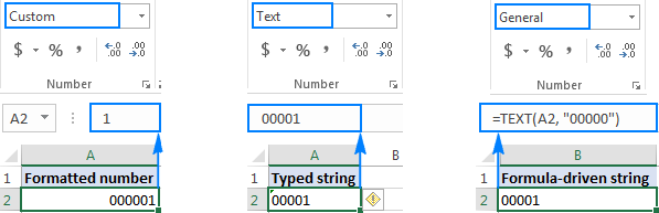 Different ways to add  leading zeros in Excel
