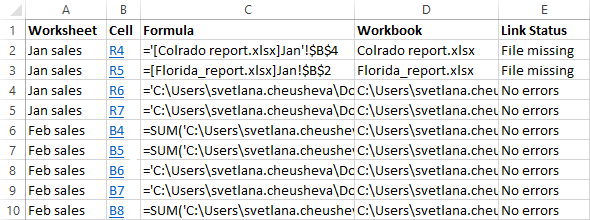 Finding external links with VBA
