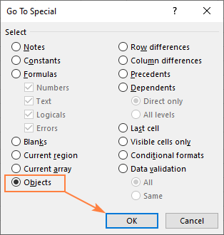 Use Go To Special to find external links in Excel objects