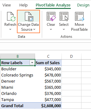 Get to the PivotTable's source data.