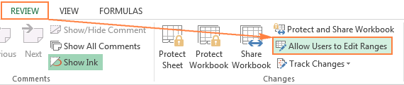 To unlock certain cells on a protected sheet, use the Allow Users to Edit Ranges feature.