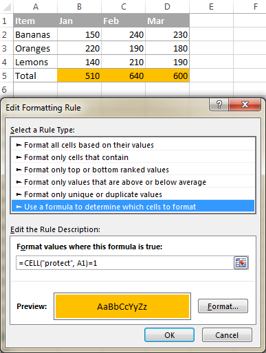 Highlight locked cells with a conditional formatting rule.
