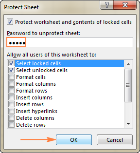 Type the password to protect the sheet, and select the actions you want to allow your users to perform.
