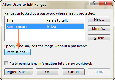 Select the range that you want to allow to edit without password, and click the Permissions… button.