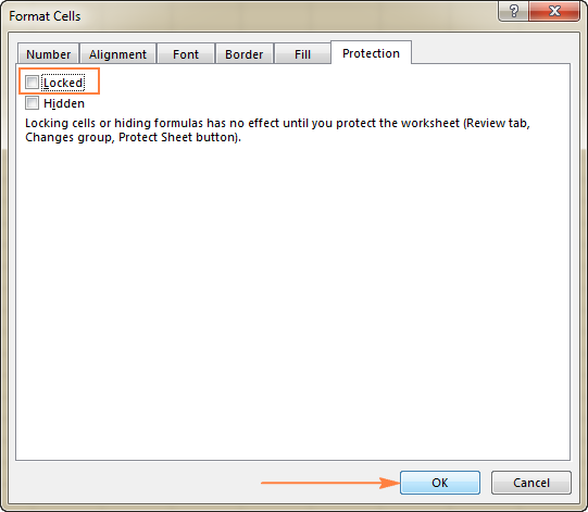 Open the Format Cells dialog, and uncheck the Locked box.