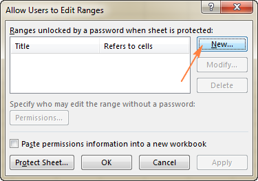 Click the New… button to create a new range unlocked with password.