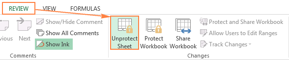 Unprotecting an Excel sheet