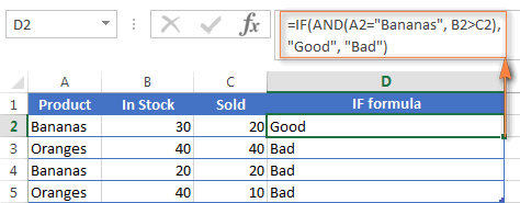 An example of the IF formula with a nested AND function