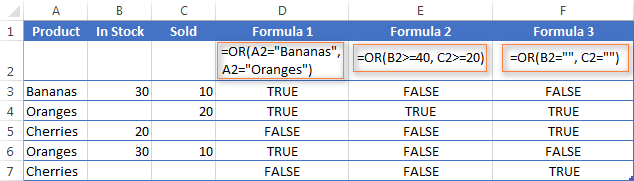 Using the OR function in Excel