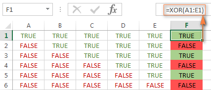 Excel XOR formula with multiple logical statements