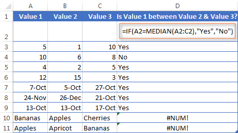 Using IF with the MEDIAN function to find out all values between the given two values