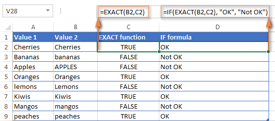 Using the EXACT function for case-sensitive comparison of text values