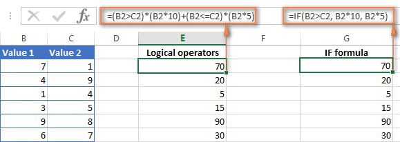 Using Excel logical operators in mathematical calculations