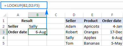 An example of the array form of Excel LOOKUP