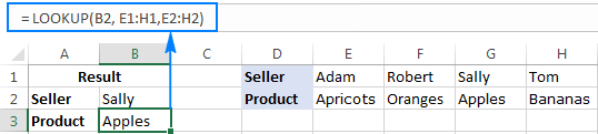 LOOKUP formula to search in one-row range