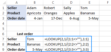 Lookup formula to get a value of the last non-empty cell in a row