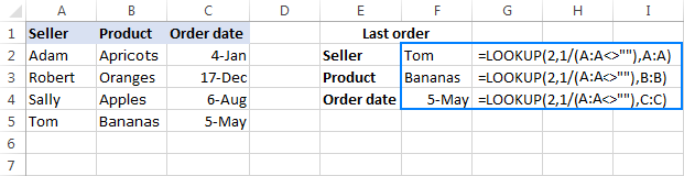 Lookup formula to get a value of the last non-blank cell in a column