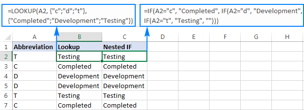 A Lookup formula as alternative to nested IFs