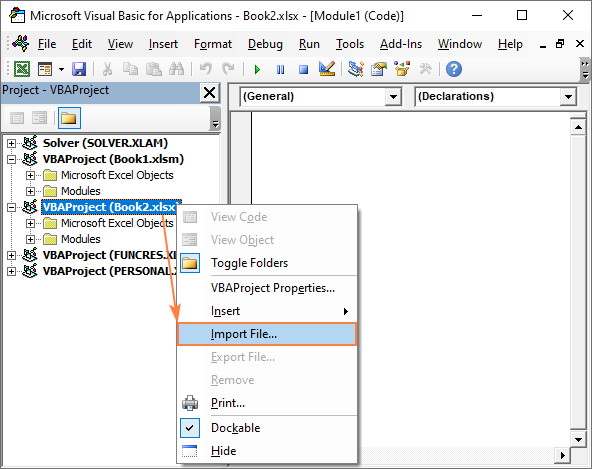 Importing macros into Excel