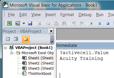 VBA immediate window