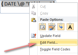 Right-click the field and choose Edit Field from the context menu.