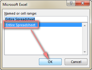 Click Entire Spreadsheet.