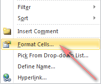 Select Format Cells... from the context menu.