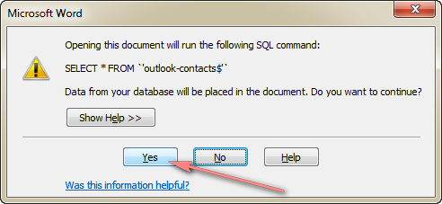 click Yes to keep the connection between the Excel file and Word document.